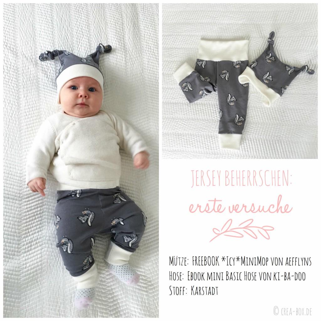 Jersey beherrschen: ein Set für Baby aus Hose und Mütze